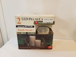 LED PILLAR CANDLES .2 FLICKERING FLAMES NEW