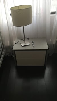 White and black wooden side table