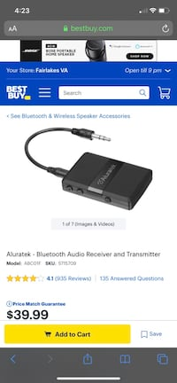 Alutek Bluetooth Audio Receiver/Transmitter Aldie, 20105