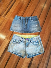 Denim shorts and skirt both fit like size 4