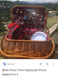 Red and black picnic basket with wine essentials Hampton, 23669