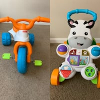 Fisher Price tricycle and baby walker