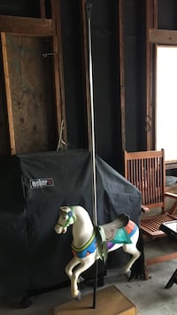 White and blue carousel horse cast iron with original pole from the 1920's Frelinghuysen, 07860