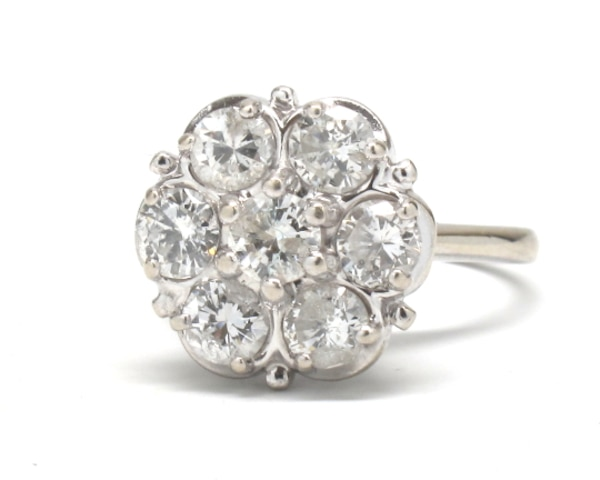 14k Ladies Diamond Cluster Ring