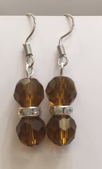 Brown crystal handmade bead earring, silver spacers, made with stainless steel materials  Toronto, M1B 4Y7