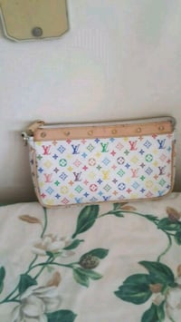 women's white, green, and pink Louis Vuitton leath