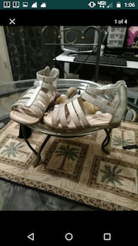 pair of girls silver sandals