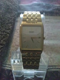 New square Gold Seiko Calendar link bracelet watch Baltimore, 21216