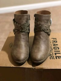 brown leather buckled booties with box 56 mi