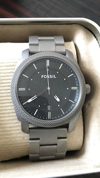 Round silver and black Fossil analog watch