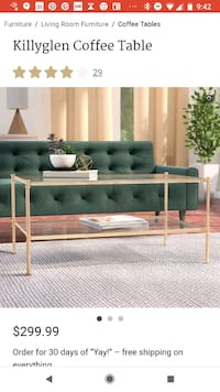 Stunning gold and glass coffee table. Unused. New York, 10001