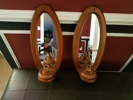 Mirrored wood wall sconces, in perfect shape