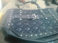 black and gray Leather hand bag