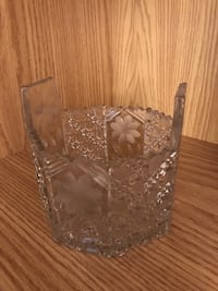 Octoganal clear cut glass container