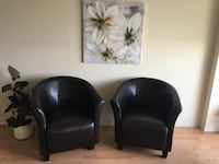 two black leather sofa chairs Gatineau, J8R 1T5