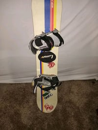white and red snowboard with bindings 1813 mi