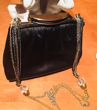 1950's Vintage ANDE SATIN/BRASS CHAIN PURSE Quincy, 02169