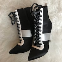 Black-and-white satin lace-up heeled booties Calgary, T2G 5R1