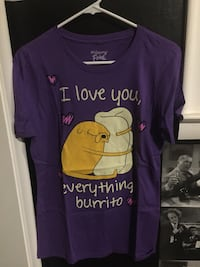 purple, yellow and white Adventure Time t-shirt