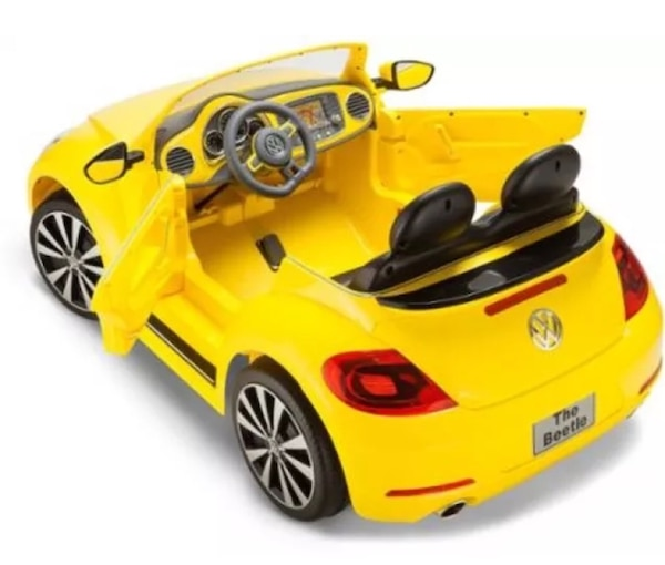 Kid Trax Vw Beetle Convertible 12 Volt Battery Ed Ride On Yellow