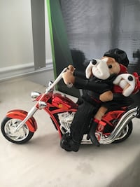 Born to be Wild /2 Plush Dogs Wearing Black Leather on Motorcycle/Musical Sterling, 20165