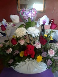 pink carnations, red roses, and white orchids centerpiece Tustin, 92780