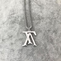 Upside down LV Louis Vuitton Necklace Silver tone Mc Lean, 22102