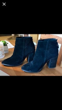 pair of black suede chunky heeled boots Vancouver, V6E