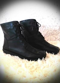 DENVER HAYES WINTER LEATHER BOOTS - SIZE 8 WELLAND