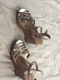 pair of brown leather open-toe heeled sandals Fresno, 93720