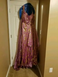 Purple and Gold Plus size prom dress  Providence, 42450