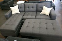 Small gray reversible sofa chaise with ottoman North Highlands, 95660