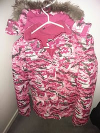 pink and white floral long sleeve winter jacket