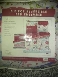 red and grey 8 piece reversible bed ensemble pack