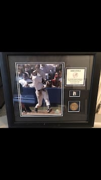 Collectible, derek jeter framed pic with piece of game ball. 1 of 100!
