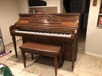 brown wooden upright piano with chair Kensington, 20895