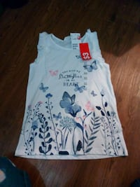 women's white, black, and pink floral tank top