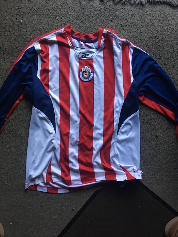 online store d9104 a2a41 White, red, and blue reebok Chivas long-sleeved shirt