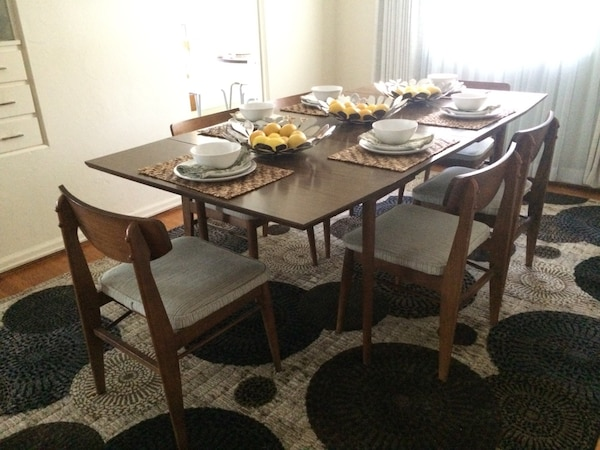 Mid Century Modern Drop Leaf Dining Room Table and 6 Gorgeous Gray Pin  Striped Upholstered Chairs
