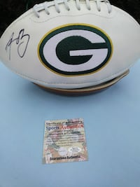 AWESOME! AARON RODGERS SIGNED PACKERS BALL W COA!