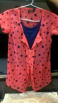 red and black polka dot cap sleeve cardigan