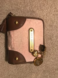 brown /pink Juicy Couture leather zip-around wallet