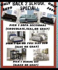 COMBO: Sectional + Bed Frame + Dining Set ( All for $699) or we Finance $5 down and Take it Home!!  Houston, 77092