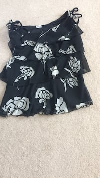 black and white floral spaghetti strap ruffled top