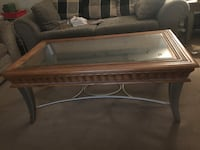 Rectangular brown wooden framed glass top coffee table Winnipeg, R2W 5G4