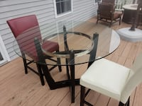 round glass top table with 2 chairs dining set Middletown