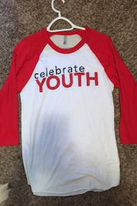 Womens red and white celebrate shrt size S