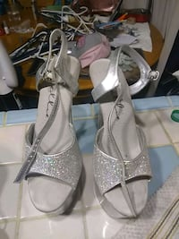 pair of gray open-toe ankle strap heels Portland, 97236