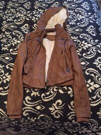 Brown leather white fur lined zip jacket Manassas, 20112