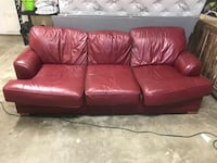 Red leather 3-seat sofa St. Augustine, 32080
